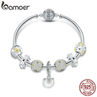 BAMOER 925 Sterling Silver White Daisy Flower Dazzling CZ Pendant Bracelets Bangles for Women Sterling Silver Jewelry SCB806