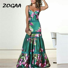 ZOGAA Evening Party Dresses Women Natural Silk Dress Retro Floral Print Maxi Ladies Strap Pleated Plus Size Vestidos