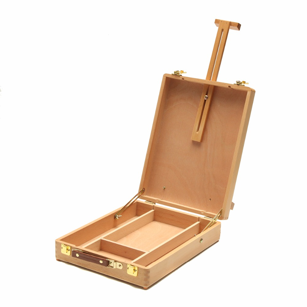 Portable Miniature Desk That Converts To A Painting Easel Four Adjustable Angles On Easel For Versatility Wooden Painting Deskto