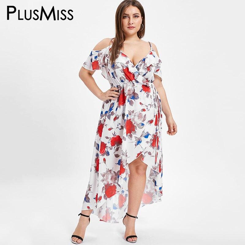 PlusMiss Plus Size XXXXXL Cold Shoulder Summer Floral