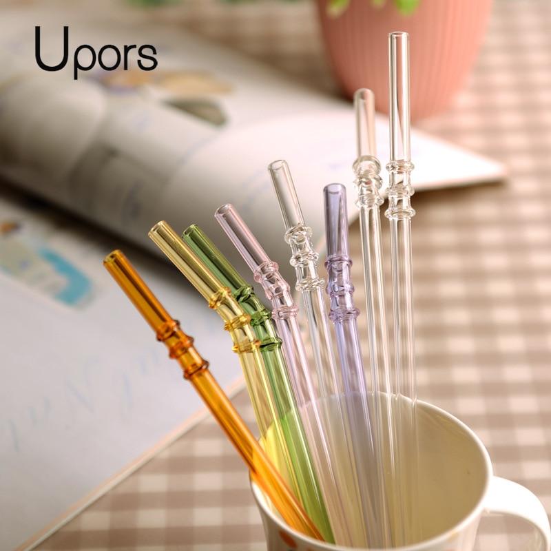 UPORS 100 pièces/ensemble paille de verre 200mm * 8mm réutilisable pailles de verre coloré