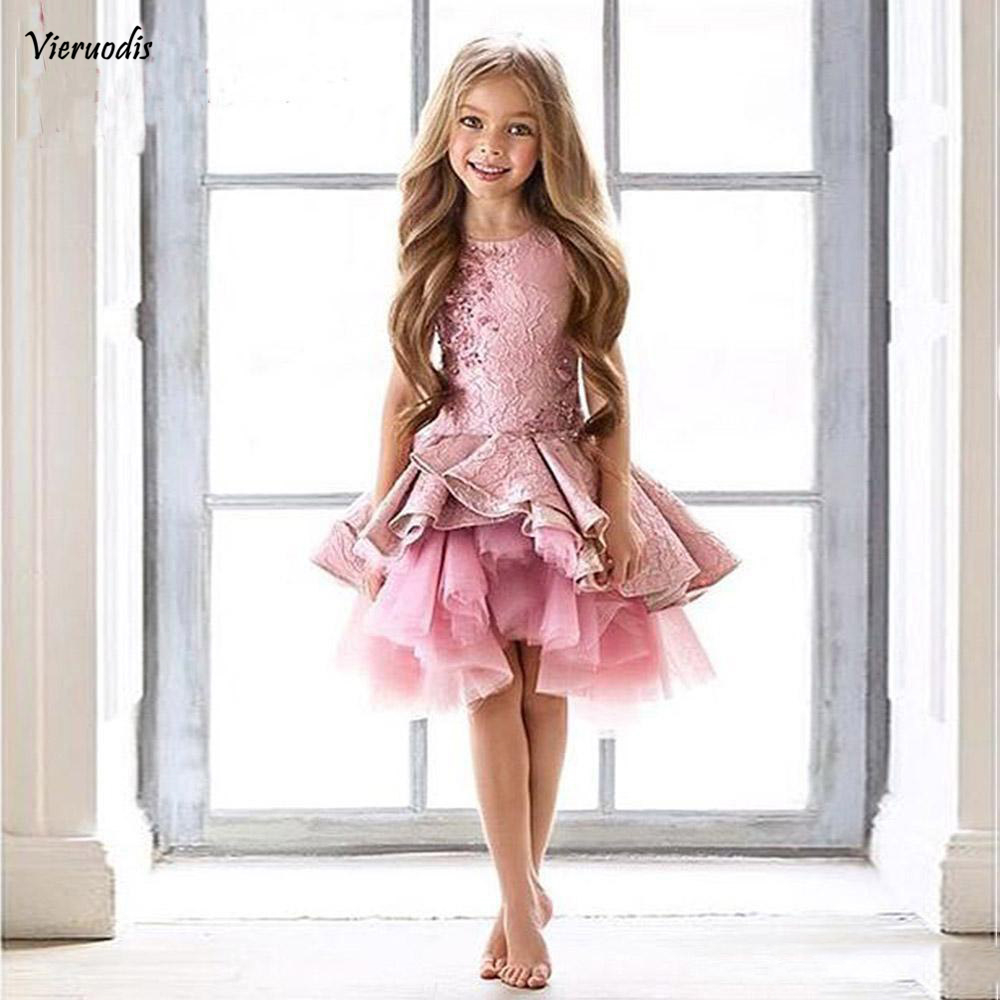 Gorgeous Pink Toddler Flower Girl Dresses Pageant Prom Party Gowns Sleeves Beads Kid Formal Communion Dress in Flower Girl Dresses from Weddings Events
