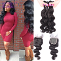 Wet&Wavy Filipino Virgin Hair with Lace Closure 8A 4 Bundles Cheap Bundles with Closures Lot Meches Bresiliennes Fermeture Lots
