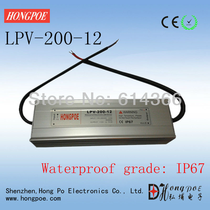 IP67 200w waterproof power supply 12v led power supply 12V 16.5A 200W LPV-200-12 factory outlet ip67 constant voltage 12v 200w power driver waterproof 200w 12v led power supply