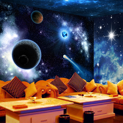 Free shipping ktv bar large mural wallpaper ceiling for Cool mural wallpaper
