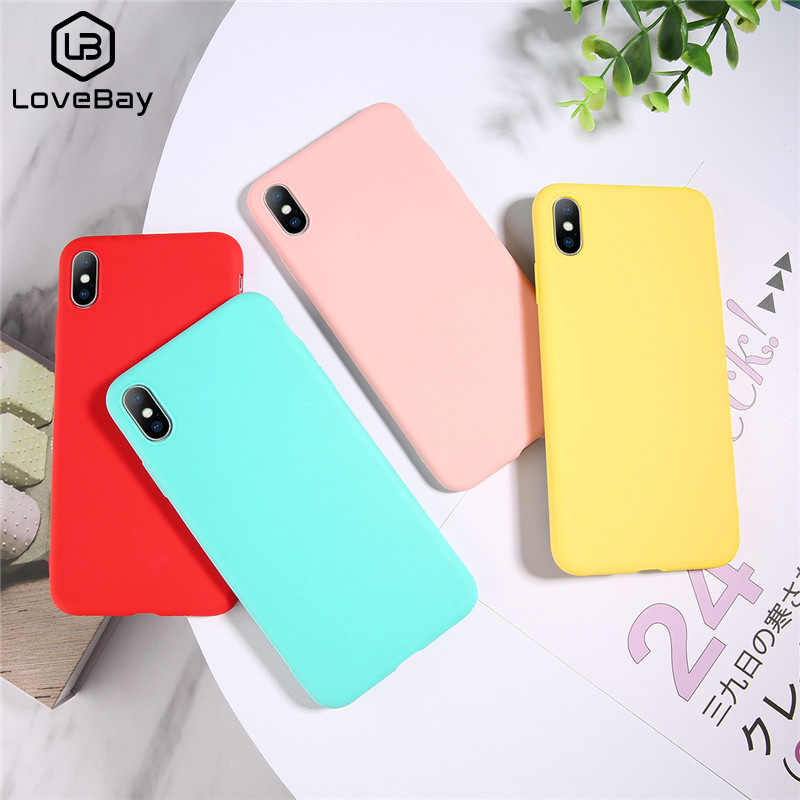 Funda de teléfono Lovebay Color caramelo para iPhone XS Max XR XS X 8 Plus Simple lisa de silicona para iPhone funda suave TPU 6 6S 7 Plus