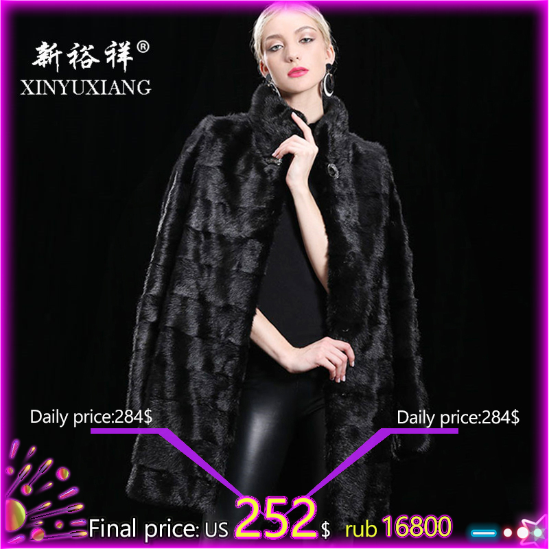 XINYUXIANG 90CM Detachable Real Mink fur coat women Winter thick warm Natural fur outwear Genuine Leather