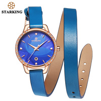 STARKING 2017 New Fashion Bracelet Leather Watch Quartz Women Ladies Elegant Wrist Watch Luxury Gold Blue Watch Women Auto Date