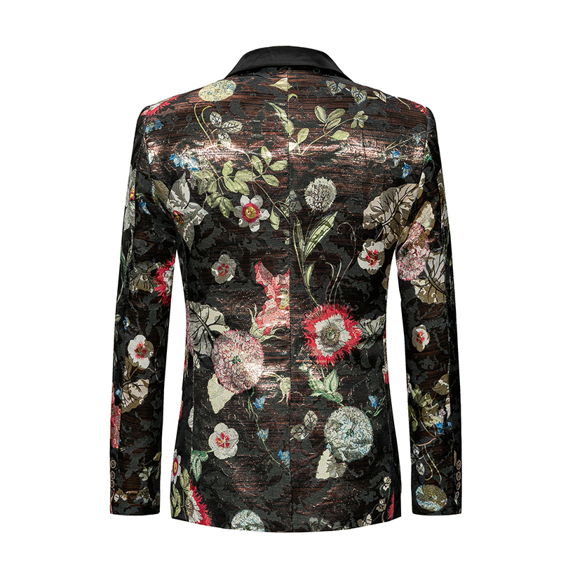 New 2018 autumn europe and america style modern floral print slim fit blazer men wedding blazers men suits mens clothing XF27