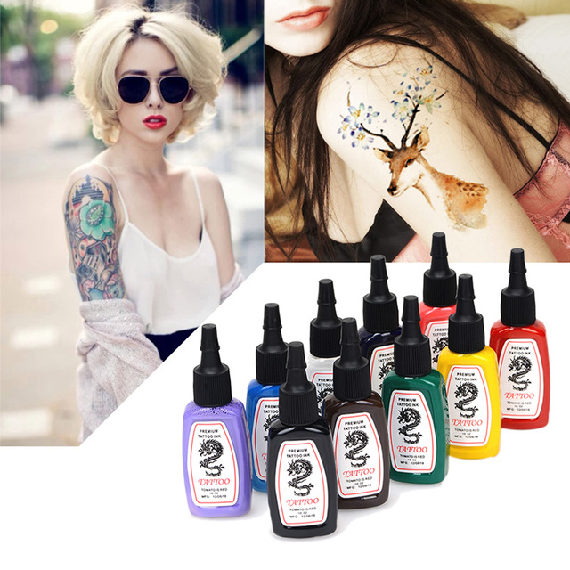 10pcs/set Pro Complete Tattoo Ink Set Pigment Set 10 Color 15ml 1/2 OZ Color tinta tatuagem