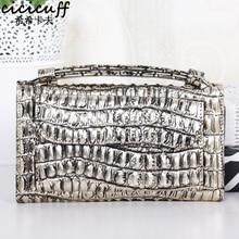 купить Fashion Leather Day Clutch Crocodile Pattern Shoulder Messenger Bag Genuine Leather Clutch Handbag Chain Women's Cross-body Bag по цене 1205.13 рублей