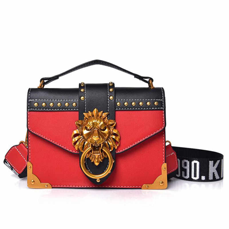 84c76c174 Luxury Famous Brand Fashion Metal Lion Head Mini Small Square Pack Shoulder Bag  Crossbody Package Clutch