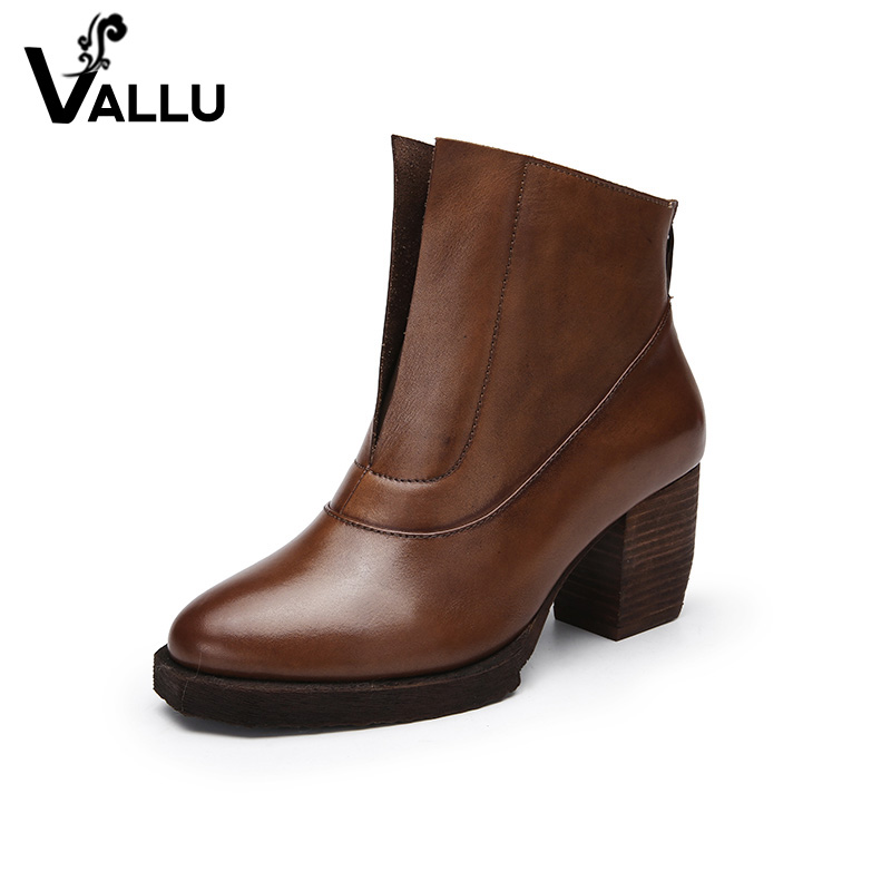 Ankle Boots Ladies Genuine Leather Women Shoes Modern New Style Block Heel Vintage Comfortable Women Boots женские ботинки dx32 d32 ankle boots