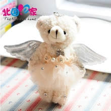 kawaii baby ängel björn plysch duk leksaker 15cm söt baby dockor barn bästa födelsedagspresent för barn gåvor nyckelring kedja hängsmycke