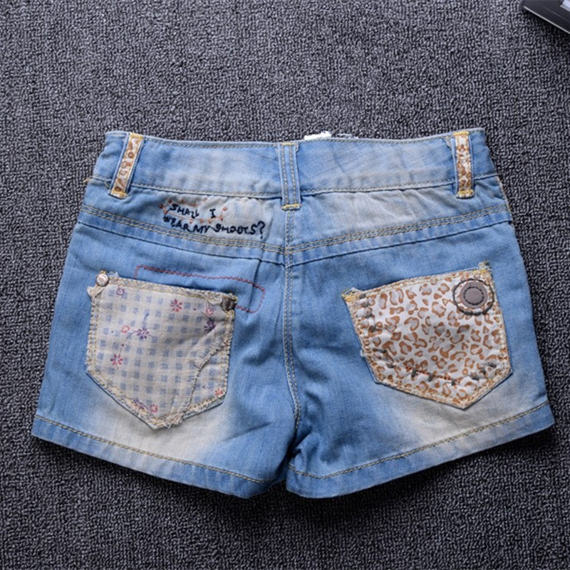 Sale summer style fashion Girls Shorts leopard patchwork Baby girl demin shorts for kids girls bebe shorts jeans for child 2-10Y