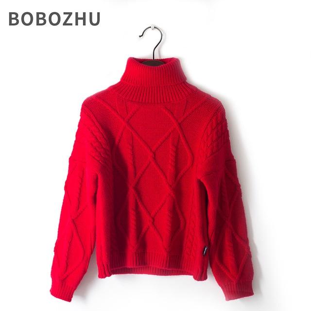 800063d07 bobozhu Red High Collar Sweater Boys Girls Soft fluffy Turtleneck ...