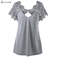 Gamiss Plus Size Lace Trim Cutwork T Shirt Hollow Out Lace Paisley Short Sleeve Casual Female