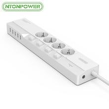 NTONPOWER 5 Port USB Ladegerät mit EU Stecker 4 Steckdose Steckdosenleiste mit 4 Einzelnen Schalter Überspannungsschutz 1,5 Mt Netzkabel