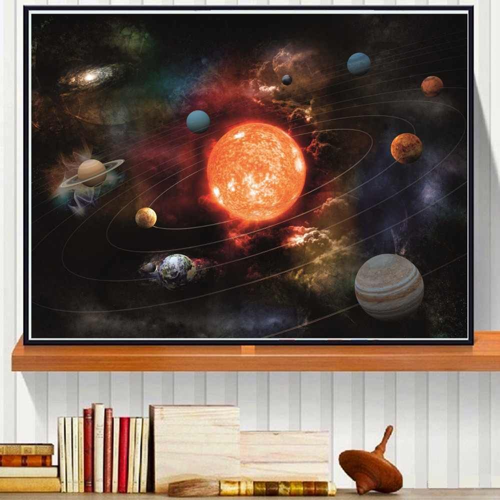 3D Solar System Canvas Art Print Painting Poster Wall Pictures For Room Decoration Home Decor No Frame Silk Fabric