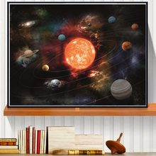 3D Solar System Canvas Art Print Painting Poster Wall Pictures For Room Decoration Home Decor No Frame Silk Fabric(China)