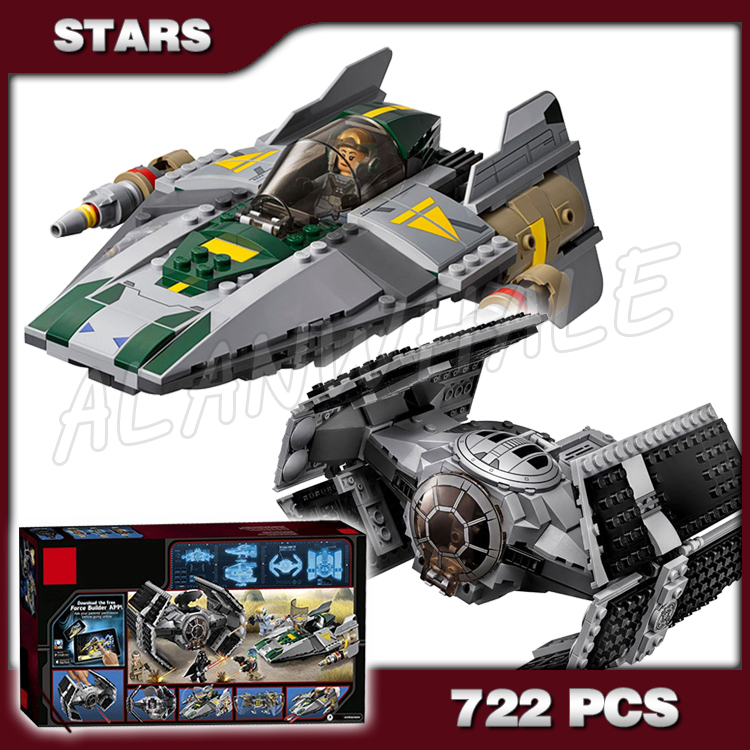 722pcs Space Wars 05030 Vader's TIE Advanced vs. A-Wing Starfighter Model Building Blocks Toys Bricks Compatible with Lego