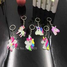 IL TRASPORTO LIBERO 50pcs Unicorn Keychain di Fascino Portachiavi Glow Keychain Keychain Del Fumetto Dei Monili del Pendente Della Ragazza di Tasca Accessori Regalo
