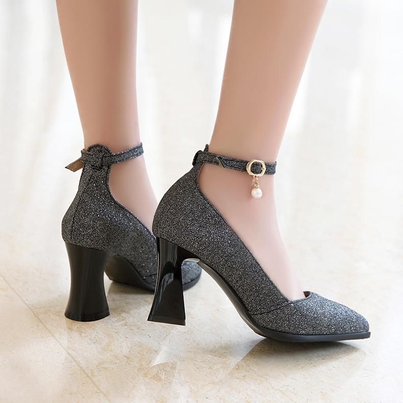 Dulce Punta Alto Zapatos Las Señoras púrpura En Mujer T181 2017 Grande Tamaño Bombas Talón Del Negro oro Mujeres 48 Caliente Nueva plata 31 Boda Venta OxA8TZ