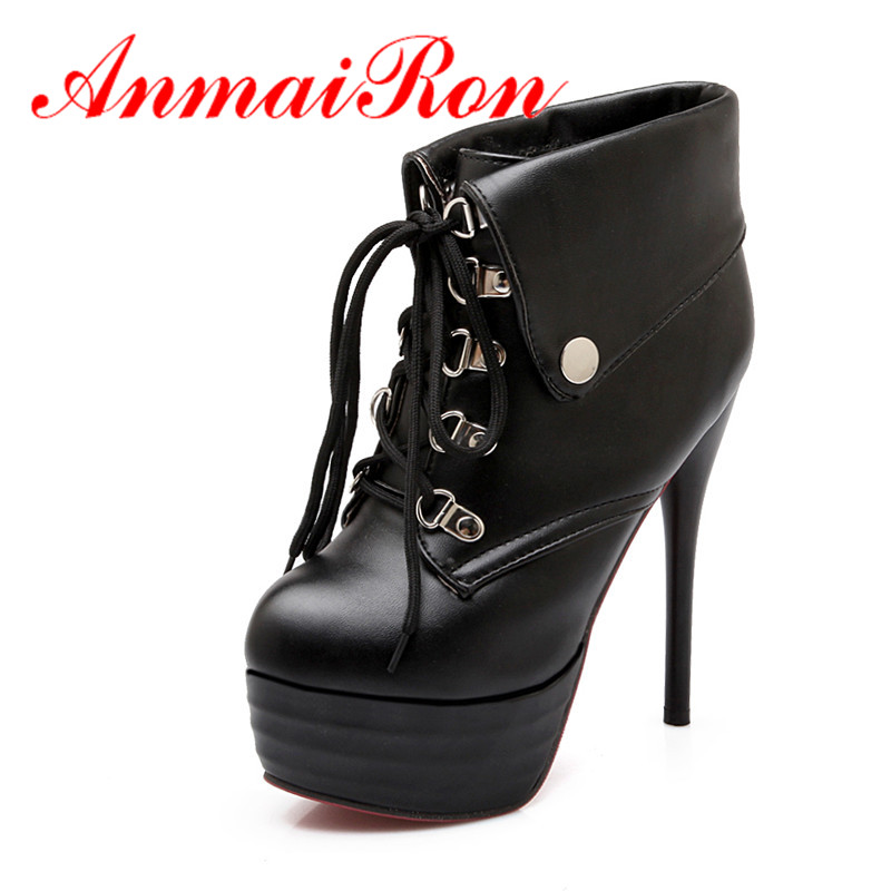 ANMAIRON Classic Women Spring&Autumn Ankle Boots Winter Warm Fur Boots Sexy High Heels Lace up Fashion Platform Boots Size 34-43 2016 autumn leather boots for boys girls children casual shoes kids comfort high quality spring martin boots