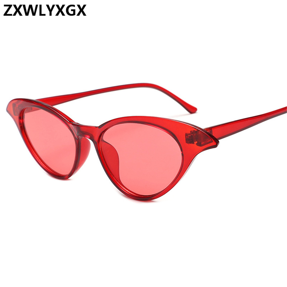 ZXWLYXGX New Sunglasses Retro Cat Eye Sunglasses Lady Brand Designer Vintage Black Transparent frame colorful oculos feminino