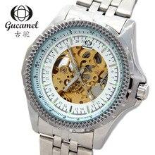 Gucamel большой циферблат диаметром 46 мм высокого класса мужская мода бизнес часы полые автоматические механические часы белая полоса
