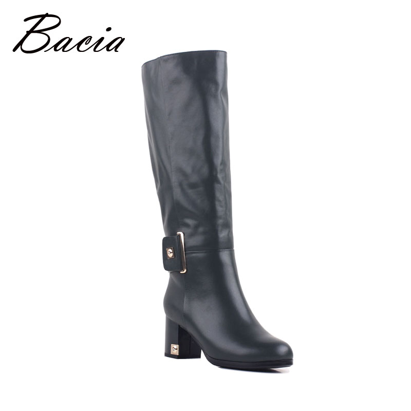 Bacia Fashion Green Knee-High Genuine Full Grain Leather Shoes Charm Zip Round Toe Warm Winter Wool Fur & Synthetic Boots VB098
