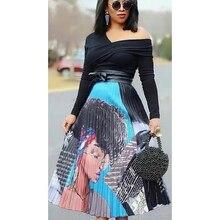 Fashion Women Cartoon Print Pleated Long Maxi Skirts Elastic Waist Casual A-line Skirt Femme New Spring Summer Women Skirt