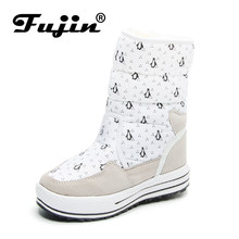 Fujin New Hot Sale Half Knee Boots Fashion Thick Fur Warm Winter Shoes Woman Vintage Lace Up Platform Outdoor Snow Boots Women(China)