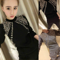 Limited Cotton Polyester Full Rivet O-neck 2017 Spring New Set Of Fashion Beaded Knit Sweater + Harem Pants Two Sets