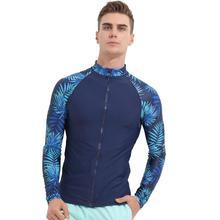 Цветочные мужские UPF 50 + Длинные рукава Рашгард сращивания УФ Защита от солнца основные шкуры для сёрфинга дайвинга и плаванья Футболка синий черный M 3XL