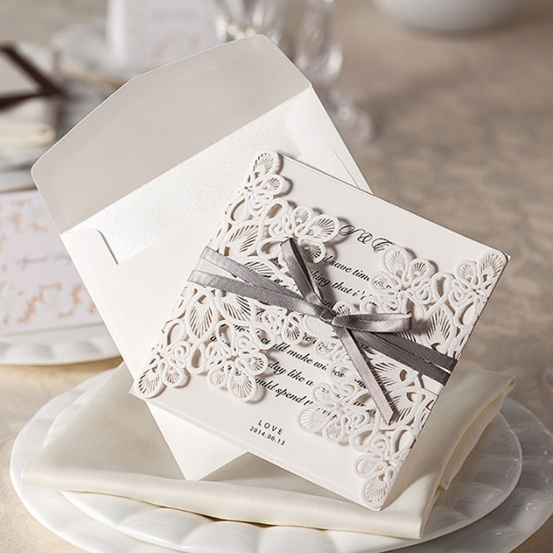 Hottest 10Pcs Wedding Invitation Cards Kit With Envelopes Seals  Personalized Printing P101(China (