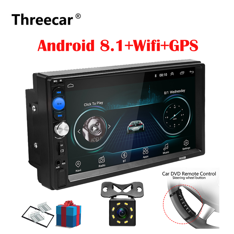 THREECAR 2 Din Car Radio Android 8.0 Universal GPS Navigation Bluetooth Touchscreen
