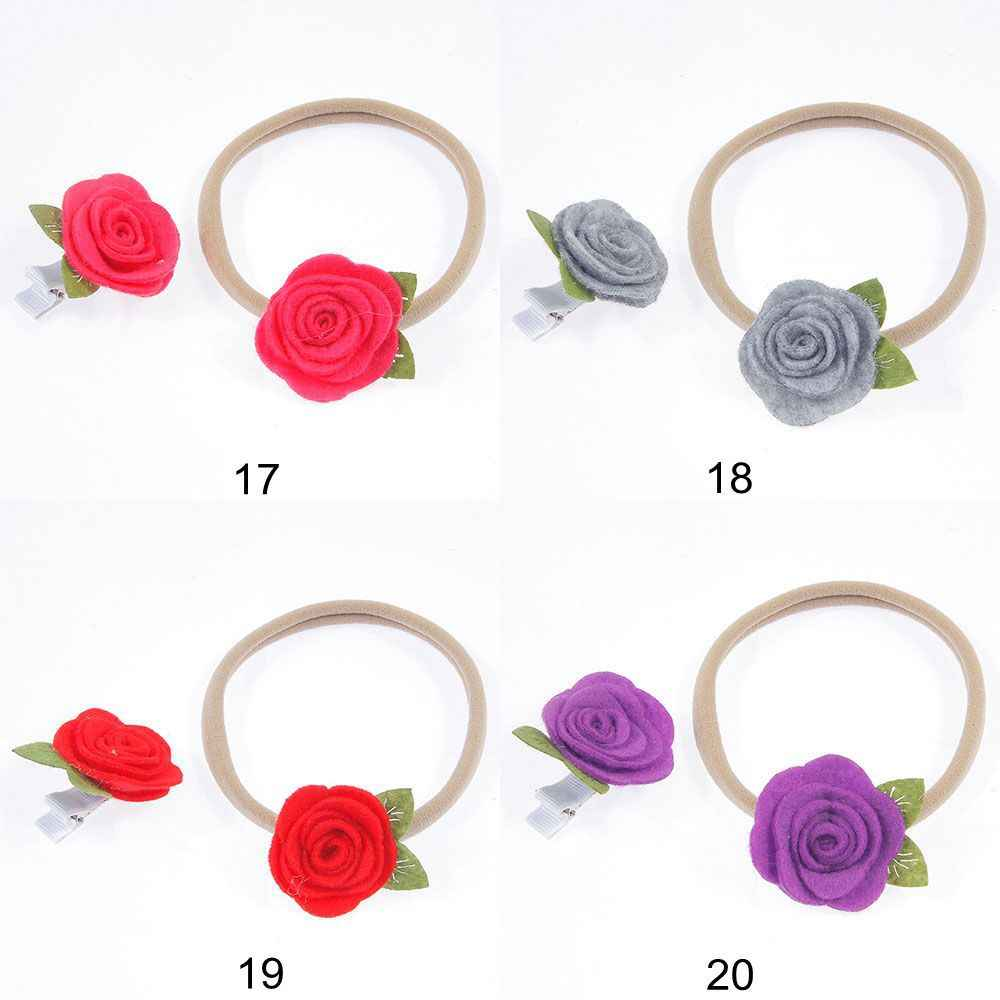 NISHINE 2PCS/PAIR Fashion Kids and Mom Elastic Nylon Headband Non-woven Rose Flower Hair Accessories Felt Hair Clip Headwear Set
