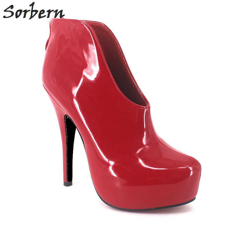 Sorbern unisex botas de tornozelo tamanhos grandes para mulher 15 cm salto alto zíper de couro de patente 36-46 personalizado feito cor botas gay