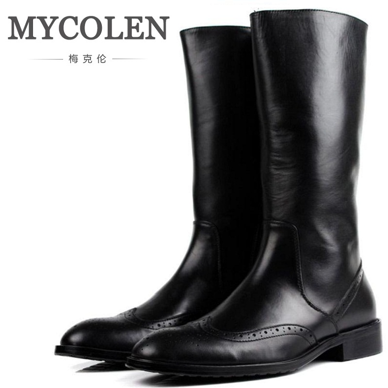 MYCOLEN Autumn And Winter New Mens Pointed Toe Zip Genuine Leather Dress Boots Nightclub Bars Career Work Boots Shoes Men autumn and winter new ladies genuine