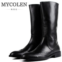 MYCOLEN Autumn And Winter New Mens Pointed Toe Zip Genuine Leather Dress Boots Nightclub Bars Career Work Boots Shoes Men