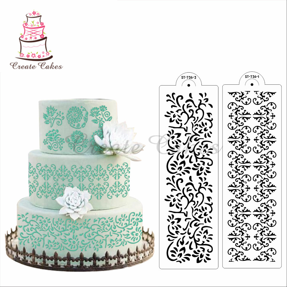 wedding cake stencils decorating flower vine decorating stencil damask cake stencil design 25702