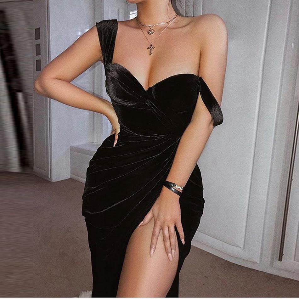 Seamyla 2019 New Arrivals Women Velvet Dress Black Sexy Strapless High Split Club Party Dresses Bodycon