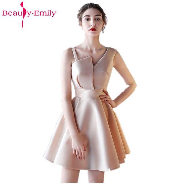 Belleza Emily Champagne vestido Sexy de fiesta de noche corto vestidos 2019 chica vestidos sin mangas ocasión Formal vestidos de noche