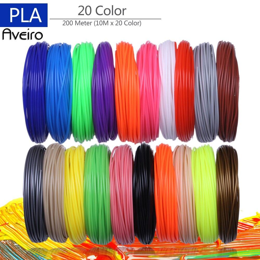 Filamentos de impressora 3d 200 metros 20 cores caneta de impressão 3d fios plásticos fio 1.75mm impressora consumíveis 3d caneta filamento pla