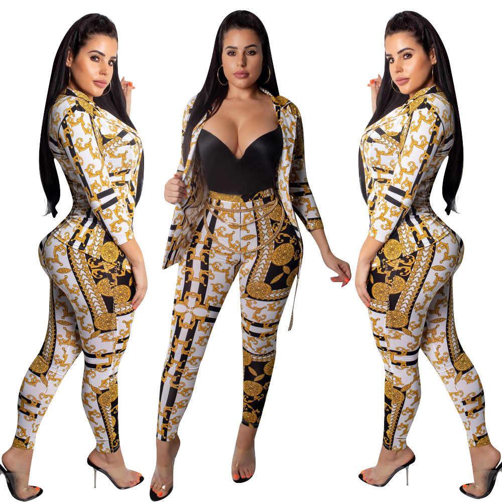 2019 女性の秋フルスリーブヴィンテージペイズリーブレザーコートトップ + スキニーロングパンツ 2 点セット女性ボディコン服スーツ L5258