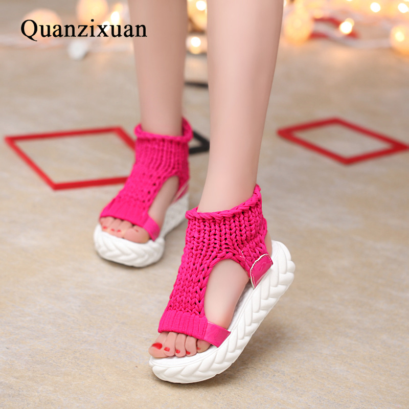 Quanzixuan Summer Women Sandals Fashion Creepers Sandals Wedge Shoes Women Flat Platform Student Open Toes