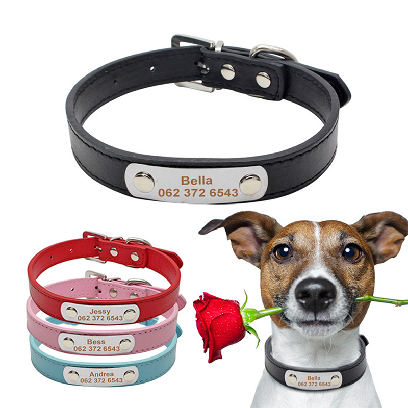 YVYOO Custom Leather Pet Dog Collars Free Engrave Personalized Dogs ID Collar Adjustable For Small Medium Dogs Cats XS/S/M/L A07