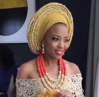 Luxury Nigerian Wedding Beads Jewelry Set Traditional African Wedding Bridal Statement Necklace Set Dubai Free Shipping