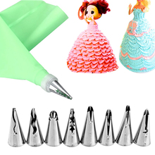 VOGVIGO 10pcs/set Wedding Cake Decorating Icing Stainless Steel Russian Skirt Nozzles Piping Tips Pastry Silicone Bags
